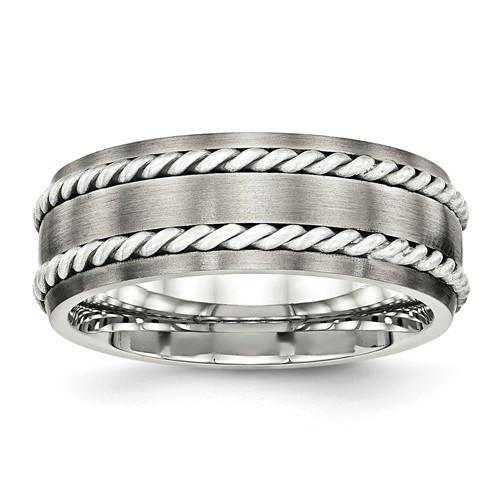 Stainless Steel & Silver Double Twist Inlay Ring 8.2mm