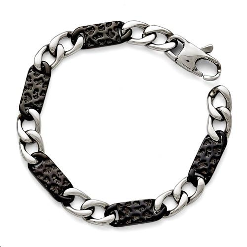 Stainless Steel & Black IP-Plated Link Bracelet 8.5""
