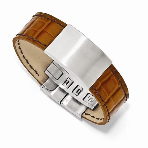 "8"" Satin Textured Stainless Steel Light Brown Leather ID Bracelet - Moijey Fine Jewelry and Diamonds"