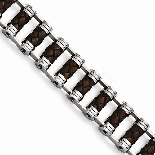 "8.75"" Stainless Steel & Brown Leather Bracelet"