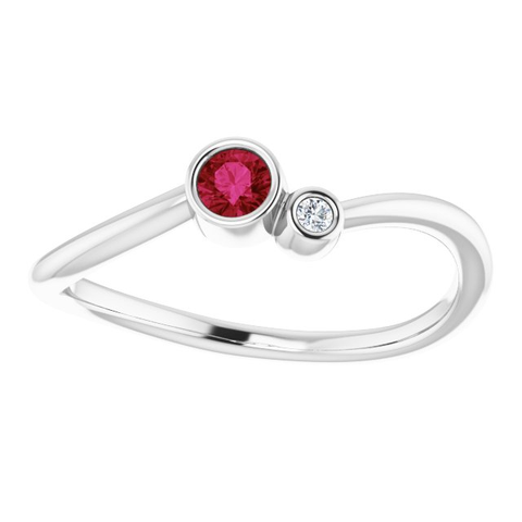 Bezel-Set Ruby & .02 CTW Diamond Two-Stone Ring - Moijey Fine Jewelry and Diamonds