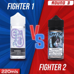 Us vs. Them - Direct Juice Blue Razz Candy vs. Happy End Blue Cotton Candy eJuice Showdown