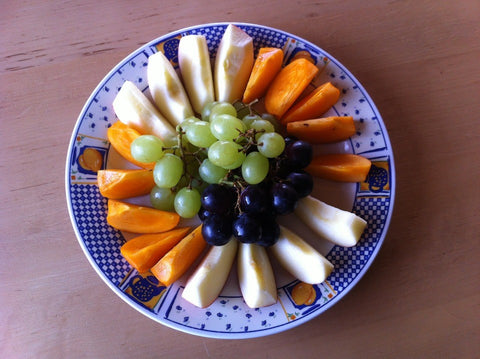 Fruits on a plate for a healthy snack