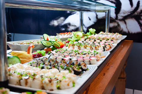 buffet table with sushi