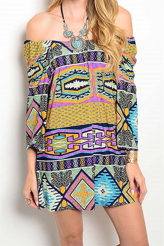 Off-Shoulder Tribal Dress