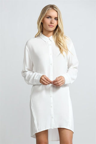 Sheer Back Shirt Dress