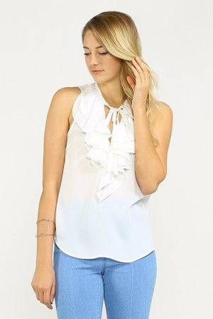 White Hot Ruffle Blouse Top