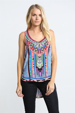 Blue Aztec High-Low Tank
