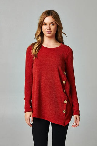 The Casey Button Top- Rust