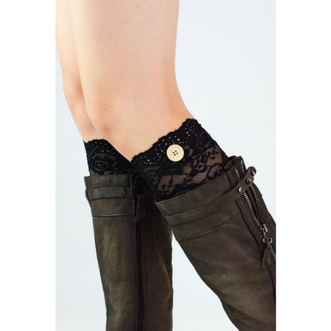 Lace Boot Cuffs- Black