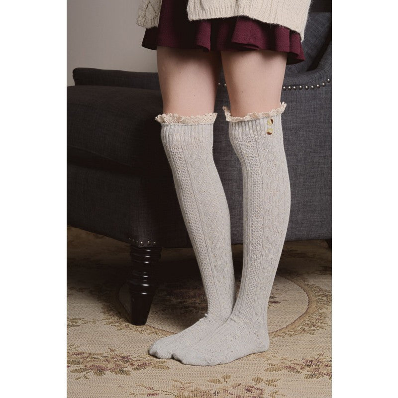 Lace Trim Knee High Socks