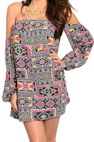 Off-Shoulder Geo Dress
