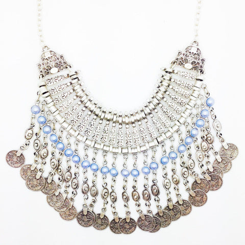 Blue Turkish Silver Coin Necklace