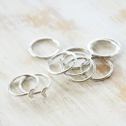 10 Pc Silver Midi Ring Stack