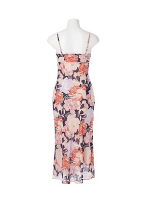 ARABELLA FLORAL MIDI DRESS - NAVY MULTI