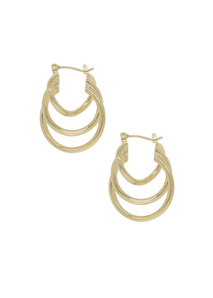 ETTIKA Triple Ring Illusion Hoop in Gold