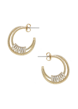 ETTIKA Double Crystal Pave Ring Hoop Earrings in Gold