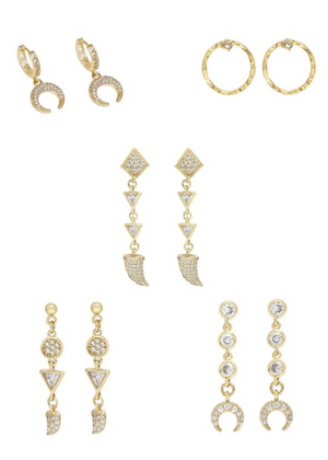 ETTIKA The Weekday Set Crystal Earrings Set of 5