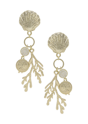 ETTIKA Seaside Shell & Coral Earring in Gold
