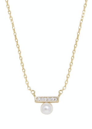 ETTIKA Classic Pearl and Crystal 18k Gold Plated Pendant Necklace