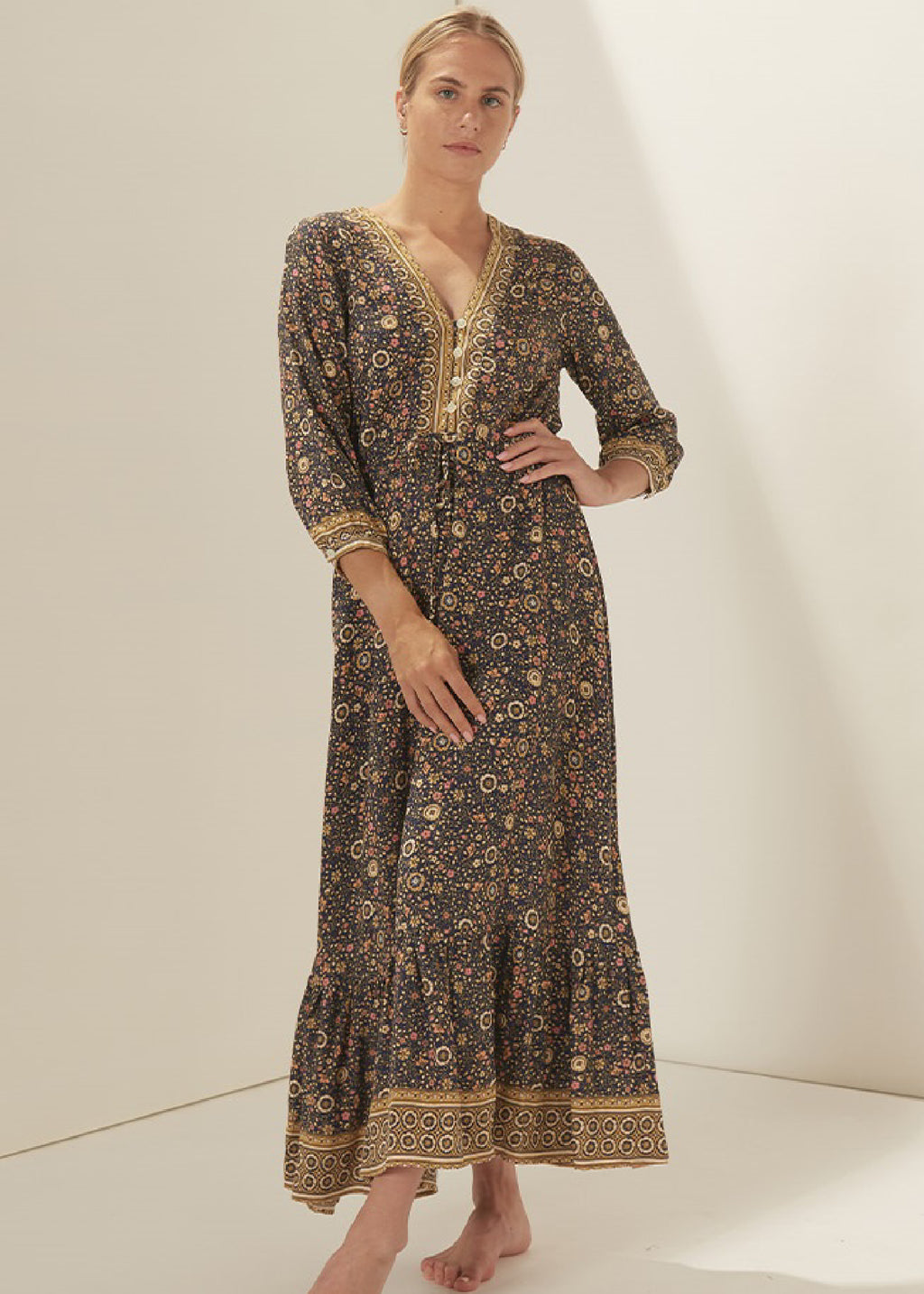 LUCINDA MAXI DRESS - NAVY FLORAL