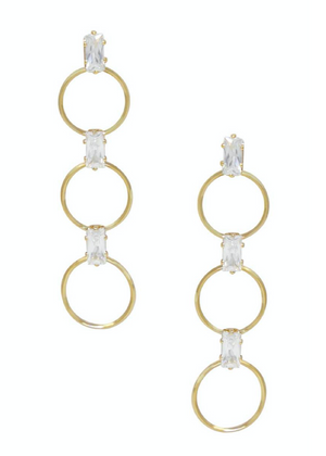 ETTIKA Triple Drop Circle and Crystal 18k Gold Plated Earrings