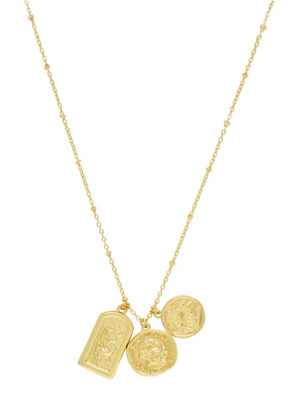 ETTIKA COIN CHARMS TALISMAN GOLD NECKLACE