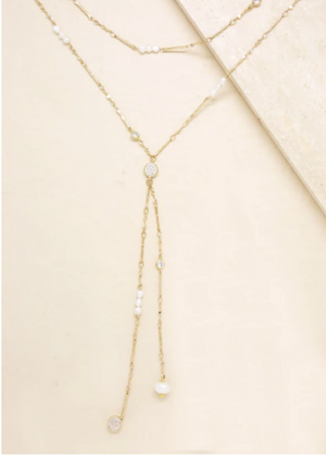 ETTIKA FRESH WATER PEARL AND 18KT GOLD PLATED NECKLACE