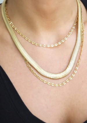ETTIKA SUPREME MIXED CHAIN 18KT GOLD PLATED NECKLACE