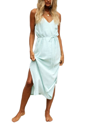 ANGIE LINEN DRESS - AQUA