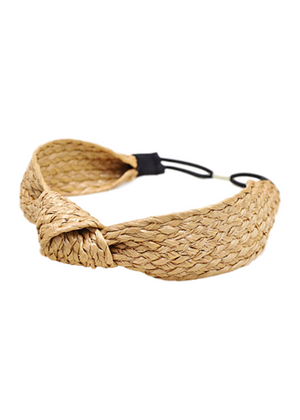 RATTAN ELASTIC HEADBAND - NATURAL
