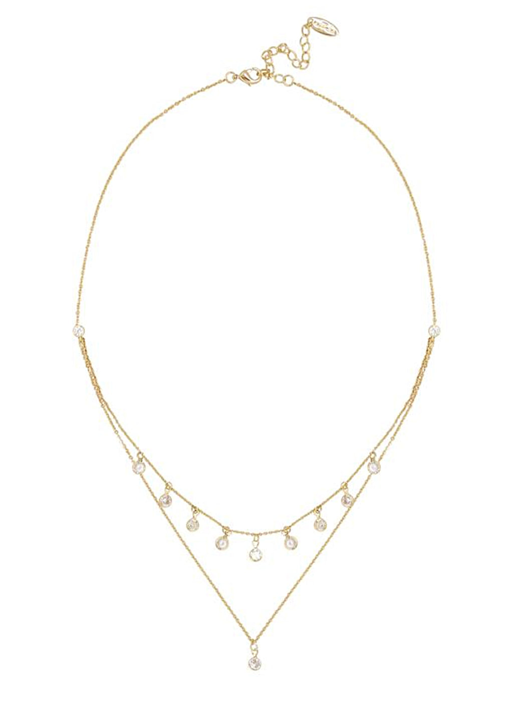 ETTIKA DREAMY DAINTY DOUBLE CHAIN NECKLACE WITH CRYSTALS