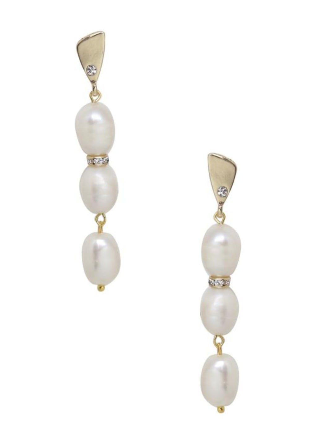ETTIKA DROP CRYSTAL AND PEARL EARRINGS