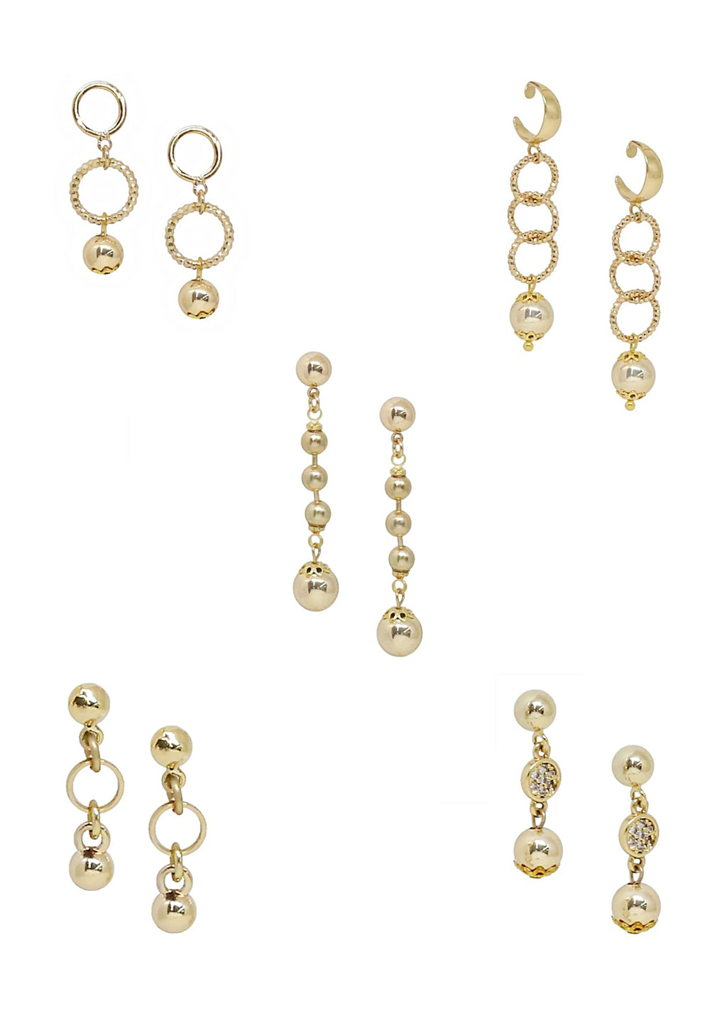 ETTIKA 5 PAIRS MINI ASSORTED GOLD EARRINGS