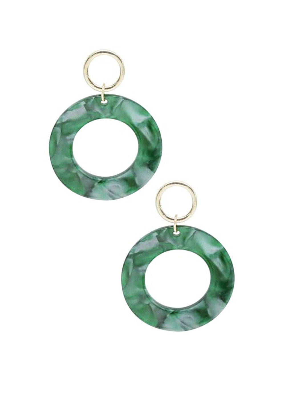 ETTIKA GREEN RESIN HOOPS IN GOLD