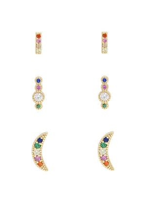 ETTIKA CELESTIAL RAINBOW CRYSTAL 3 SETS EARRINGS