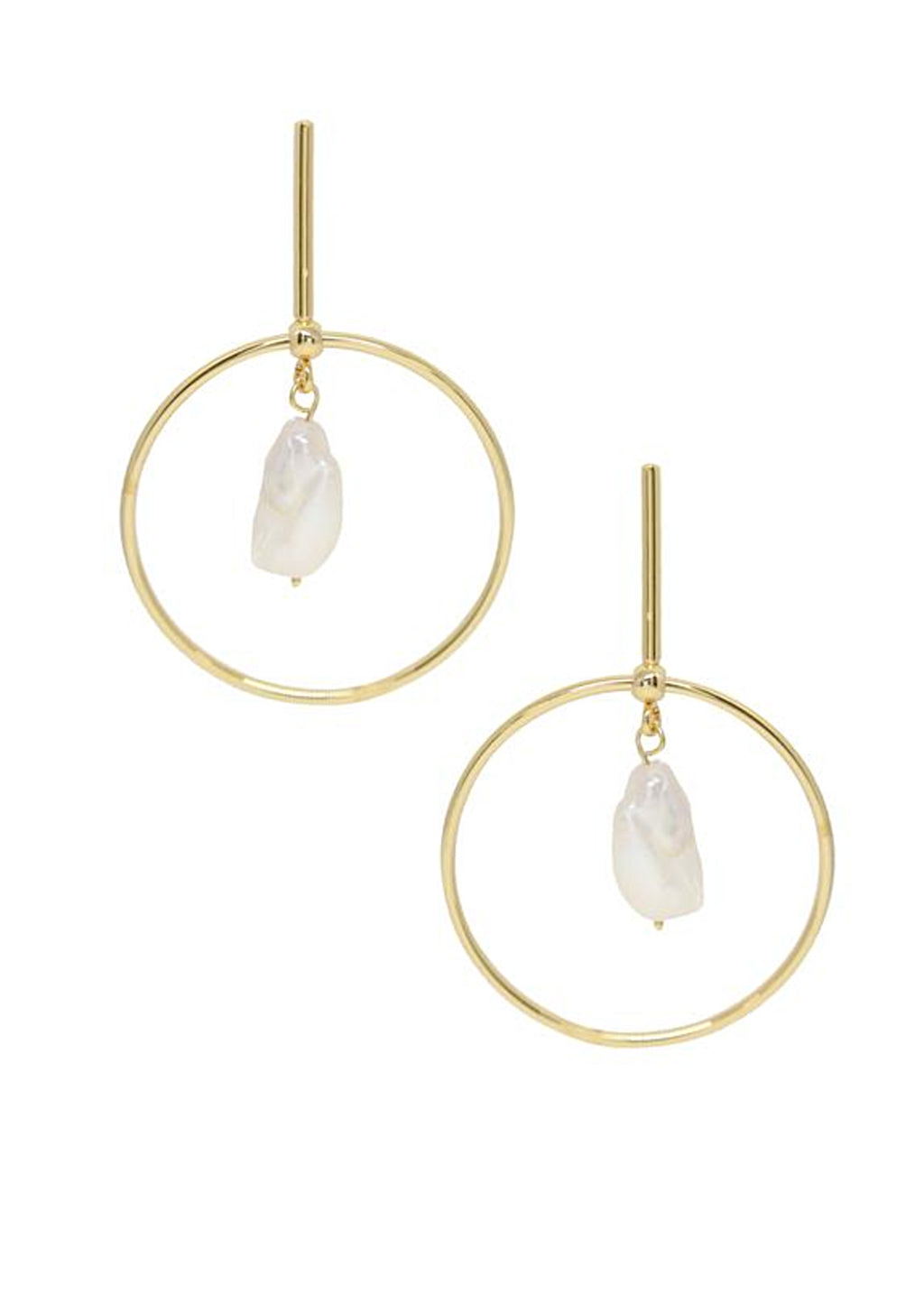 ETTIKA MODERN GOLD AND FRESHWATER PEARL EARRINGS