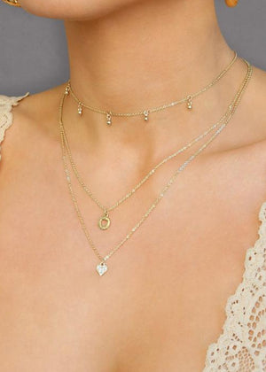 ETTIKA LOVE STRUCK 18KT GOLD PLATED LAYERED NECKLACE