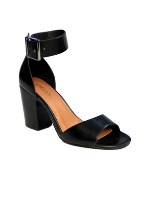 MILTON HEELS - BLACK VEGAN LEATHER