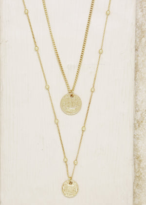 ETTIKA SIMPLE LIFE COIN LAYERED NECKLACE