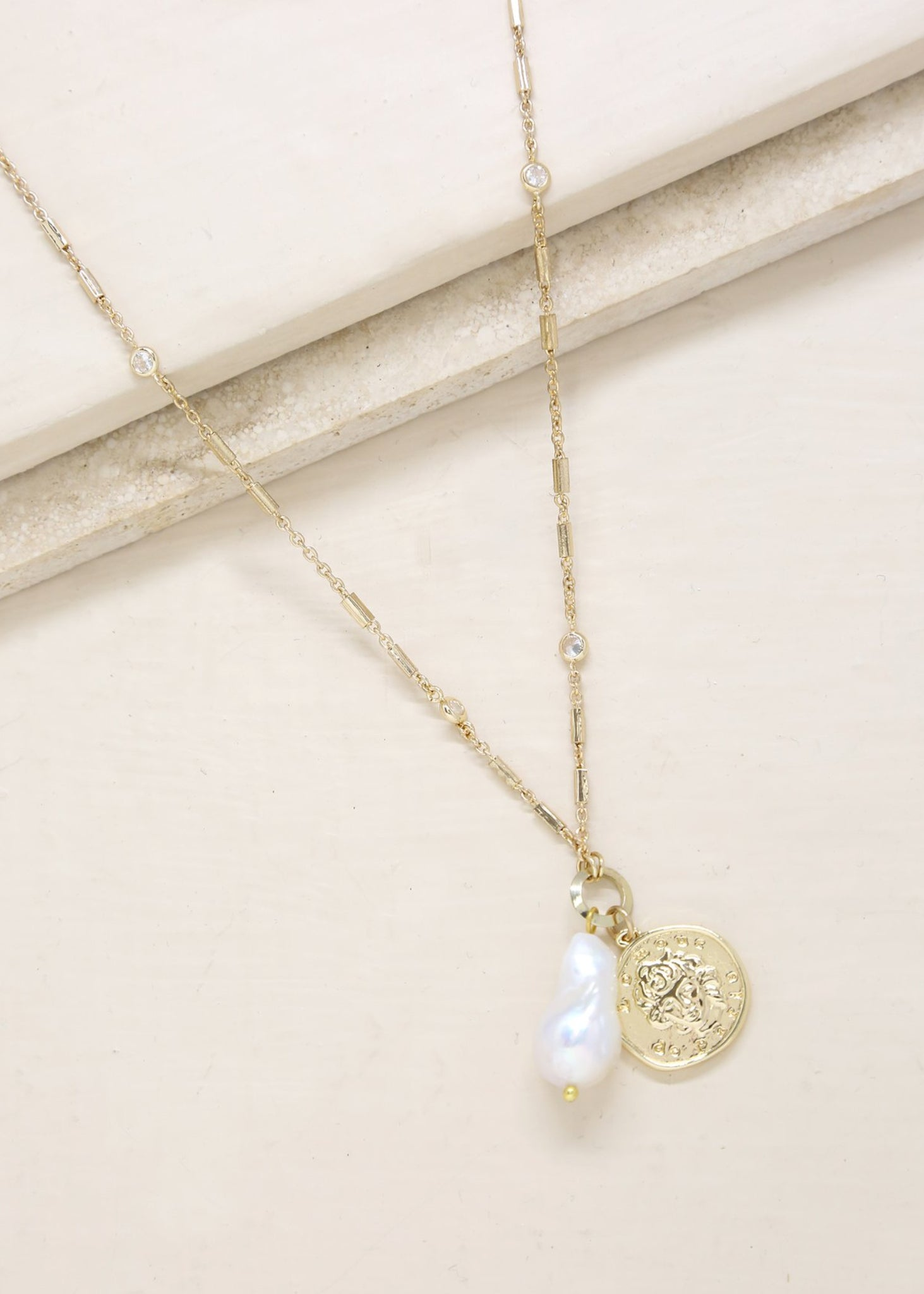 ETTIKA TRUSTY TRINKETS PEARL AND COIN NECKLACE