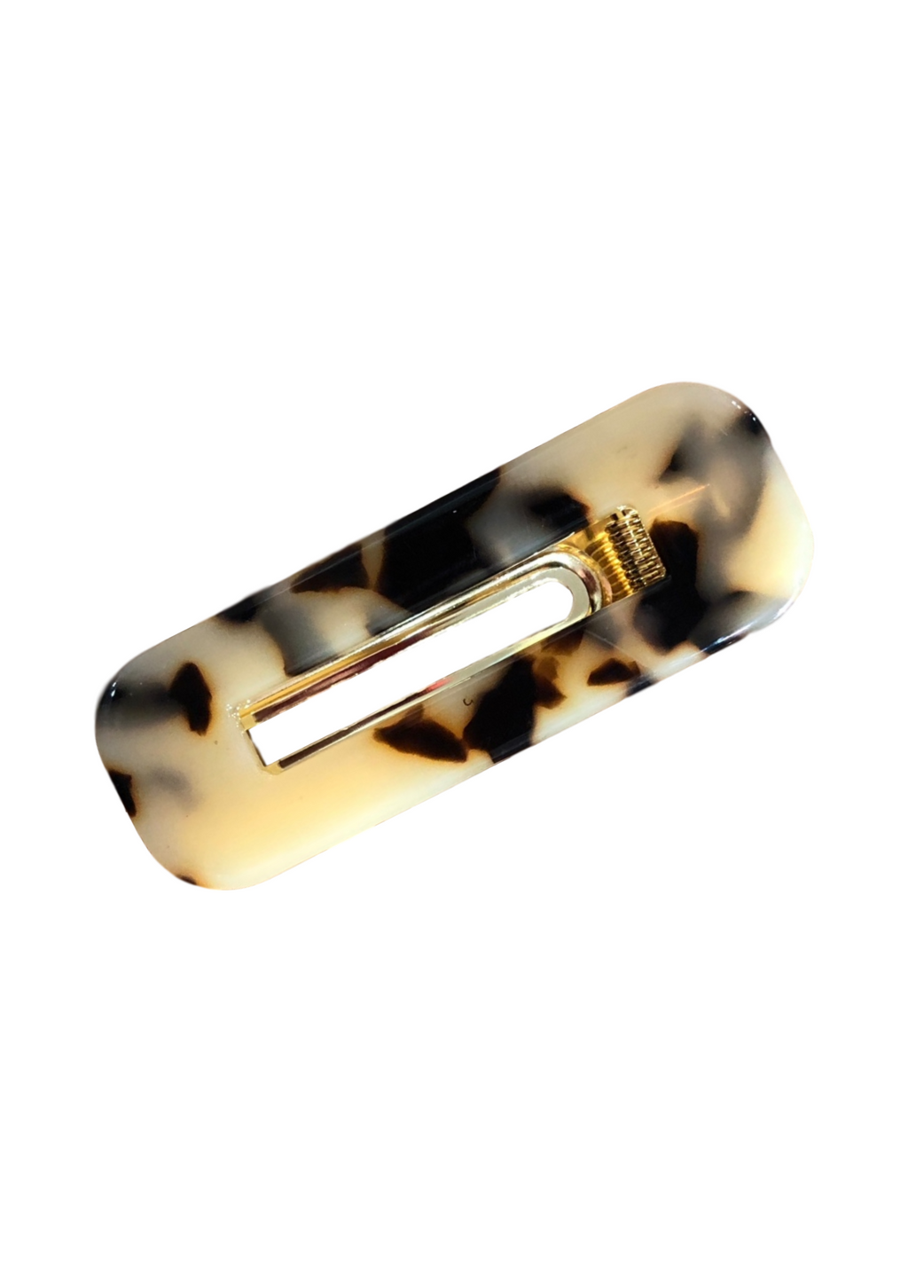 ACRYLIC HAIR CLIP SQUARE LEOPARD