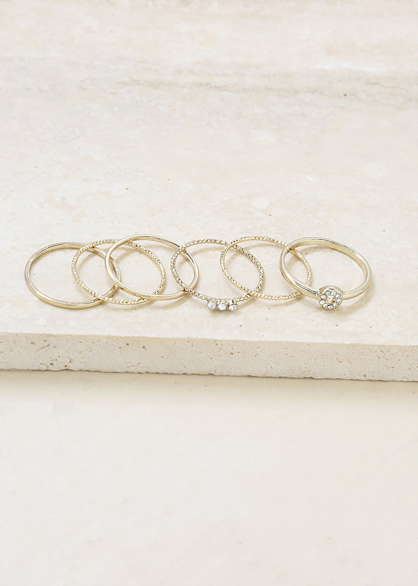 ETTIKA DAINTY GOLD SET OF 6 STACKING RINGS