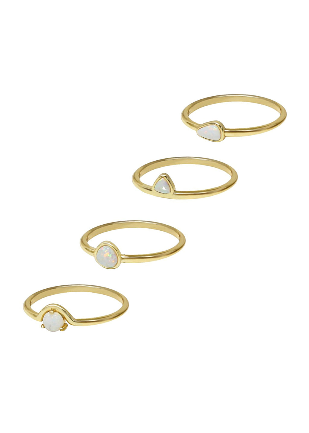 ETTIKA TRUE OPAL STACKING RINGS SET OF 4