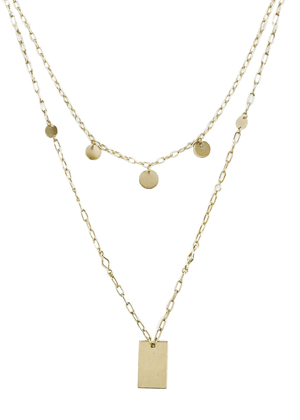 ETTIKA DELICATE LAYERS DISC AND SQUARE PLATE GOLD NECKLACE