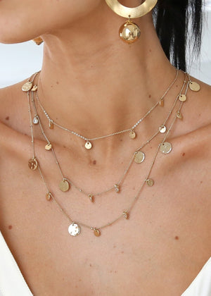 ETTIKA ALL IN LAYERED CRYSTAL AND GOLD PLATED NECKLACE