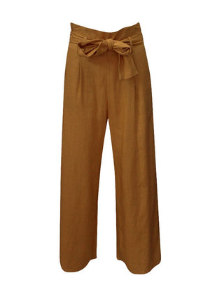 ADDISON LINEN PANTS - TOBACCO