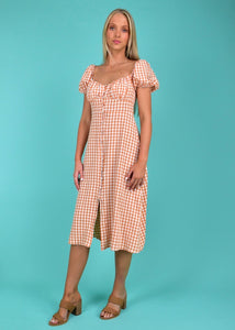 SOFIA DRESS - RUST GINGHAM