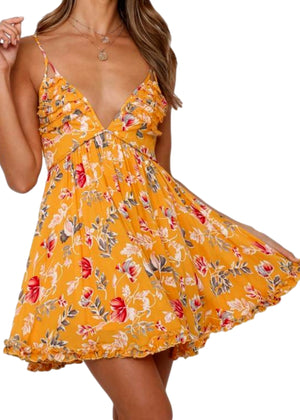 TANSY FLORAL DRESS - YELLOW