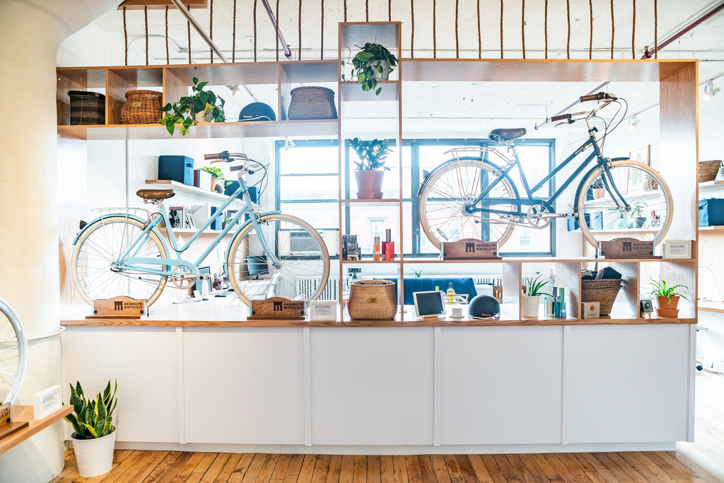 Brooklyn Bicycle Co. Showroom main display wall